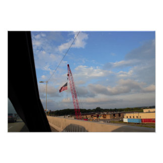 Crane with American Flag Photo Poster