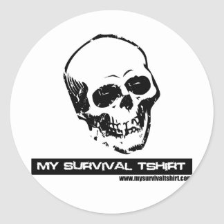 Cráneo 05 etiqueta redonda