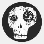 Cráneo 13 etiqueta redonda