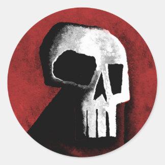 Cráneo 15-Red Pegatina Redonda