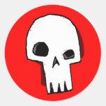 Cráneo 16-Red Etiquetas Redondas