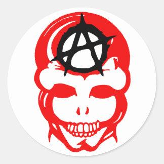 Cráneo 1 de la anarquía etiqueta redonda