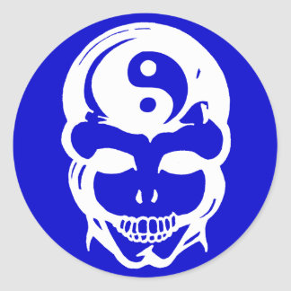 Cráneo 1 de la balanza pegatina redonda