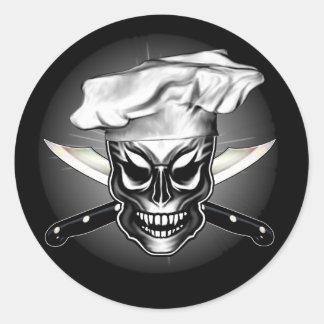 Cráneo 1 del cocinero pegatina redonda