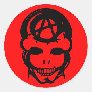 Cráneo 2 de la anarquía etiqueta redonda