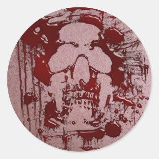 Cráneo #2 de la sangre pegatina redonda