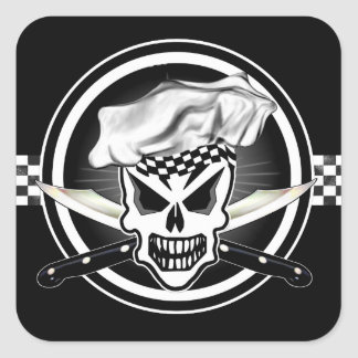 Cráneo 2 del cocinero y cuchillos cruzados del pegatina cuadrada