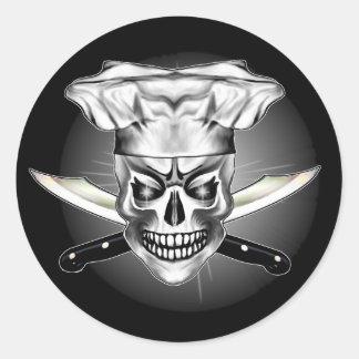 Cráneo 3,1 del cocinero pegatina redonda