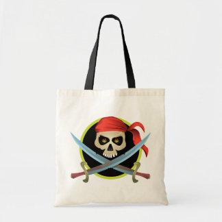 cráneo 3D y bandera pirata Bolsa Tela Barata