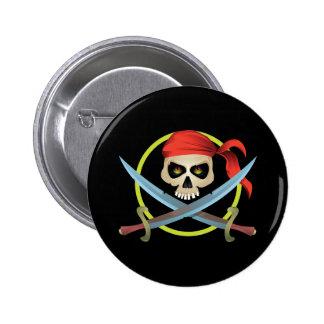 cráneo 3D y bandera pirata Pin Redondo De 2 Pulgadas