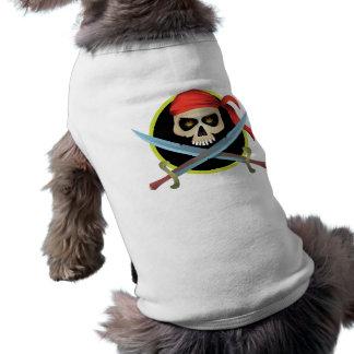 cráneo 3D y bandera pirata Camisa De Perrito