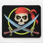 cráneo 3D y bandera pirata Tapete De Ratones