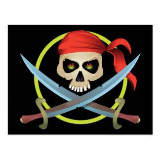 cráneo 3D y bandera pirata Postal