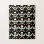 cráneo 3D y espadas cruzadas Rompecabeza