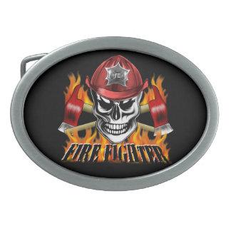 Cráneo 4 del bombero y hachas llameantes hebillas cinturon ovales