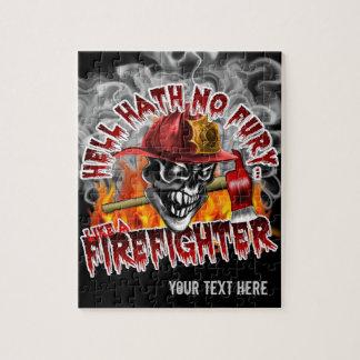Cráneo 5 del bombero con el hacha rompecabezas con fotos