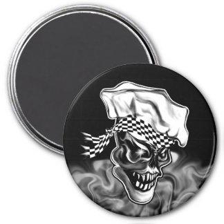 Cráneo 5 del cocinero que fuma imán redondo 7 cm