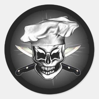 Cráneo 6 del cocinero pegatina redonda