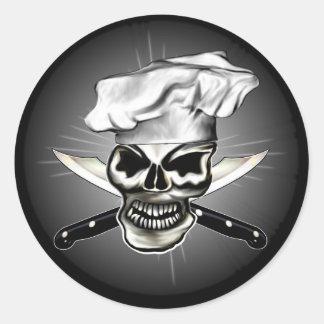 Cráneo 8 del cocinero pegatina redonda