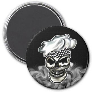 Cráneo 8 del cocinero que fuma imán redondo 7 cm