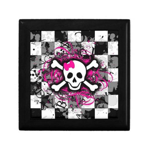 Cráneo a cuadros con la salpicadura de las rosas f cajas de joyas