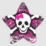 Cráneo a cuadros con la salpicadura de las rosas f colcomanias forma de estrellas