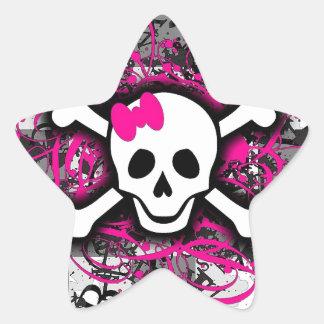 Cráneo a cuadros con la salpicadura de las rosas pegatina en forma de estrella
