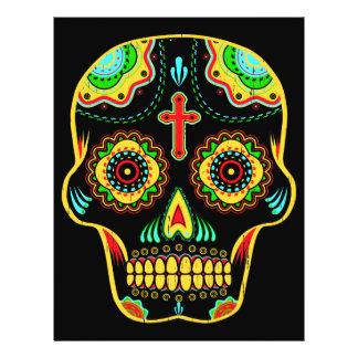 Cráneo a todo color del azúcar flyer personalizado