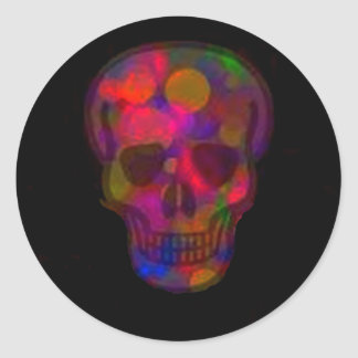 Cráneo abstracto coloreado oscuridad pegatina redonda