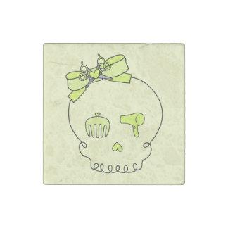 Cráneo accesorio del pelo (amarillo del lazo #2) imán de piedra