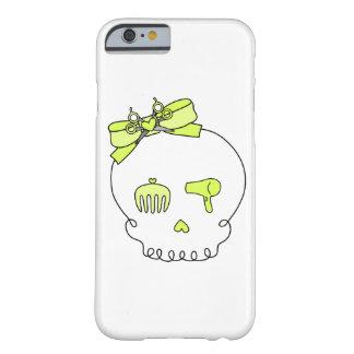 Cráneo accesorio del pelo (amarillo del lazo) funda de iPhone 6 barely there