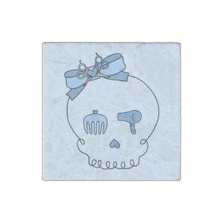 Cráneo accesorio del pelo (azul del lazo #2) imán de piedra