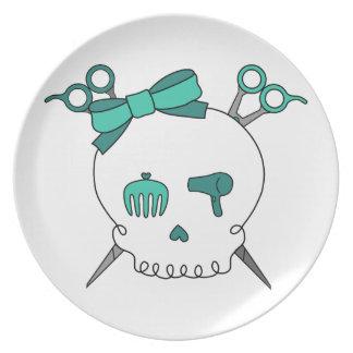 Cráneo accesorio del pelo de la turquesa - Scissor Platos