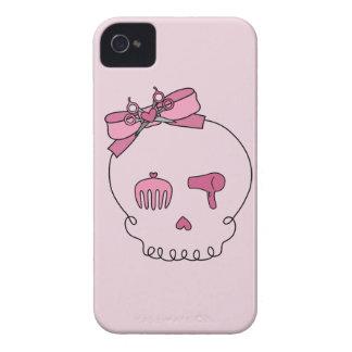 Cráneo accesorio del pelo (fondo rosado del lazo) iPhone 4 carcasa