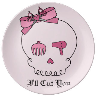 Cráneo accesorio del pelo (fondo rosado del lazo) platos de cerámica
