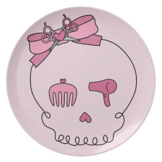 Cráneo accesorio del pelo (fondo rosado del lazo) platos para fiestas