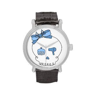 Cráneo accesorio del pelo lazo - azul relojes de pulsera