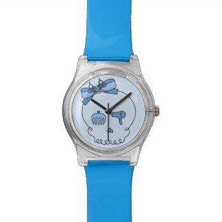 Cráneo accesorio del pelo (lazo - azul) reloj