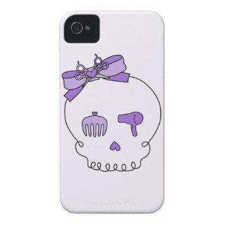 Cráneo accesorio del pelo (lazo - púrpura con la iPhone 4 carcasa