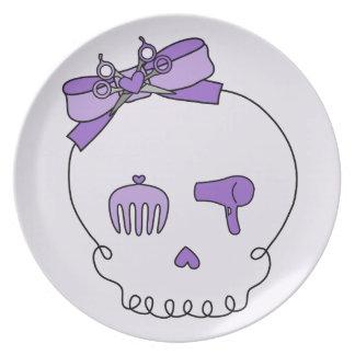 Cráneo accesorio del pelo (lazo - púrpura con la plato para fiesta