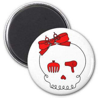 Cráneo accesorio del pelo (lazo - rojo) iman de nevera