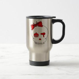 Cráneo accesorio del pelo (lazo - rojo) taza de viaje de acero inoxidable