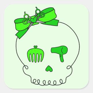 Cráneo accesorio del pelo (lazo - verde lima #2) pegatina cuadrada