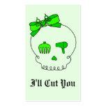 Cráneo accesorio del pelo (lazo - verde lima #2) tarjetas de visita