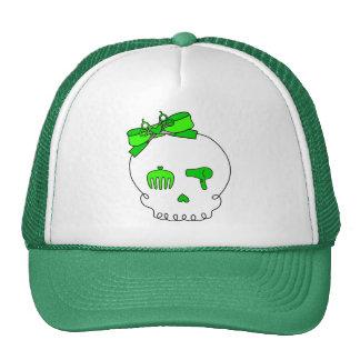 Cráneo accesorio del pelo (lazo - verde lima) gorros bordados