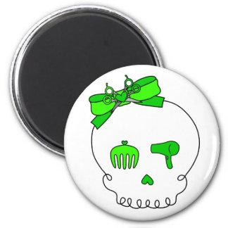 Cráneo accesorio del pelo (lazo - verde lima) iman de nevera