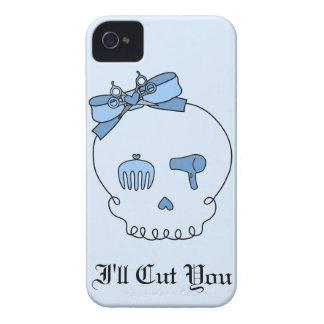 Cráneo accesorio del pelo (lazo - versión azul 2) iPhone 4 Case-Mate cárcasa