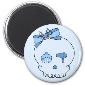 Cráneo accesorio del pelo (lazo - versión azul 2) imán para frigorifico