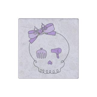 Cráneo accesorio del pelo (púrpura del lazo #2) imán de piedra