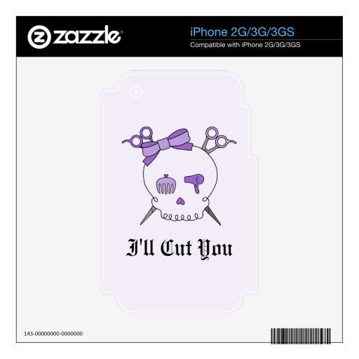 Cráneo accesorio del pelo púrpura - Scissor la ban Calcomanías Para El iPhone 3G